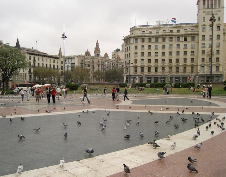 barcelonanın ünlü meydanları - Barcelona Plaçe de Catalunya Meydanı