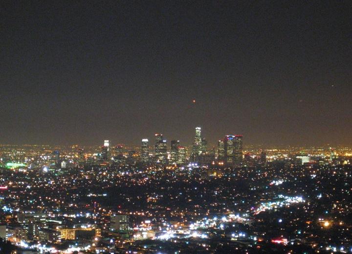 los angeles şehir merkezi gece görüntüsü