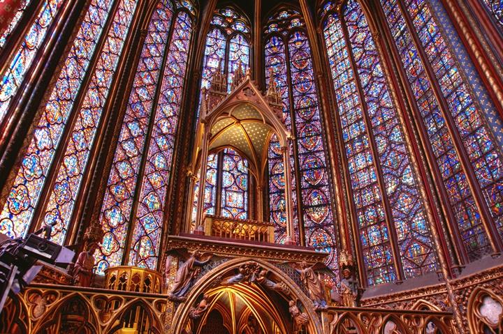 Paris Sainte Şapelinin İçi - Paris Sainte Şapelinin üst kısmı