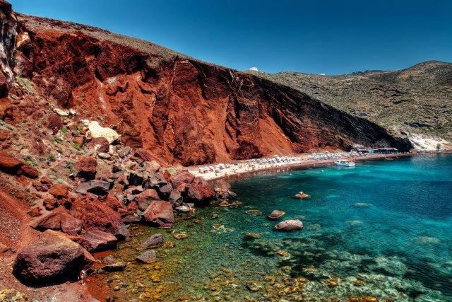 Santorini red beach - Vlihada plajı - santorini kırmızı plaj