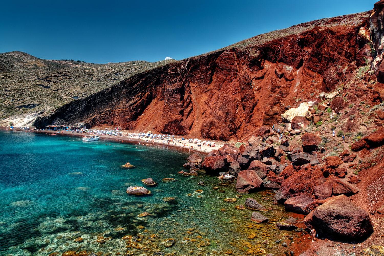 santorinide gezilecek yerler - santorini Vlihada plajı - santorini kırmızı plaj (red plaj)