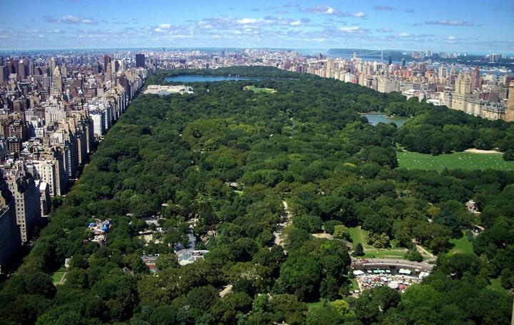 central parkın tepeden resmi